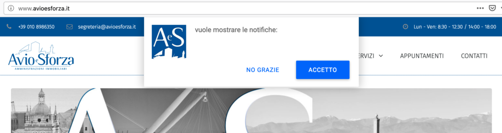 finestra notifiche web